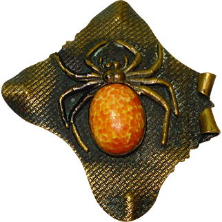 LG Czech Glass Victorian Figural Spider Brooch Sash Pin