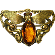 Lg Victorian Jeweled Moth Brooch Sash Pin