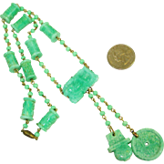 1920's Dragon Peking Glass Sautoir Necklace