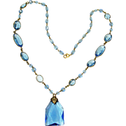 Czech Edwardian Crystal Blue Faceted Necklace Signed
