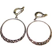 Art Deco 835 Silver Marcasite Dangle Earrings
