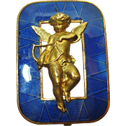 French Cherub Angel Enamel Brooch