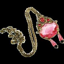 LG Rare Neiger Cranberry Glass Marcasite  Pendant Necklace