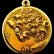 LG Victorian Jeweled Lion Locket  JGF Co