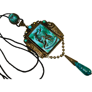 Old Czech Neiger Egyptian Revival Scarab Slide Necklace