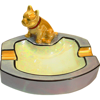 Art Deco Noritake Lusterware French Bulldog Figural Ashtray
