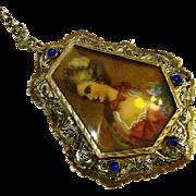 LG Sapphire Bullet Glass 800 Silver Vermeil Necklace / Brooch