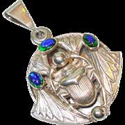 LG Peacock Eye Arts & Crafts Scarab Slide Locket w Mirror Necklace - Red Tag Sale Item