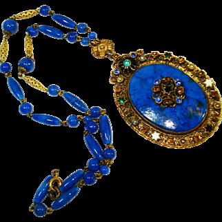 LG Signed Czech Jeweled Enamel Pendant Necklace