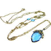 "Huge 60"" Jeweled Enamel Czech Necklace w Blue Stones"