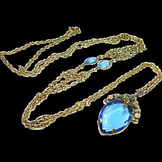 """Huge 60"""" Jeweled Enamel Czech Necklace w Blue Stones"""