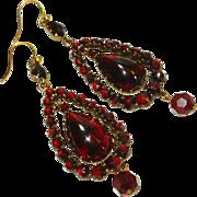 LG Fine Bohemian Garnet Victorian Dangle Earrings
