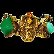 Huge Dramatic Jeweled Gods & Dragon Bracelet
