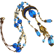 Rare GNS Figural Face Dbl Sided Jeweled Necklace