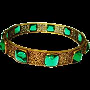 Old Czech Emerald Green Bullet Glass Filigree Bangle Bracelet