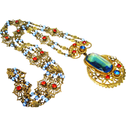 Jeweled Czech Sapphire Blue Beautifully Constructed Filigree Lavalier Necklace