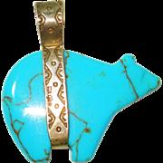 Huge Signed Sterling Turquoise Dbl Side Bear Navaho Pendant