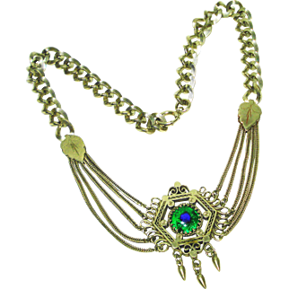 Foiled Peacock Eye Art Glass Festoon Swag Necklace