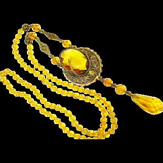 Edwardian Figural Snake Czech Long Necklace