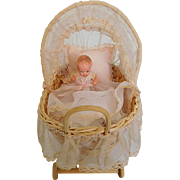 "Vintage 3.5"" Hard Plastic Baby w/ Wicker Carriage & Bedding"