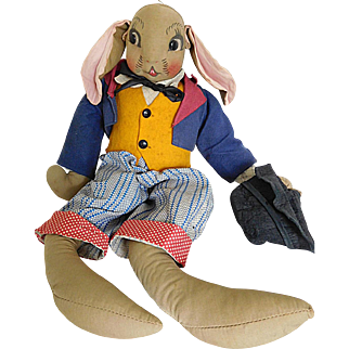 Vintage 1930's Uncle Wiggily Longears Rabbit Cloth Character All Original
