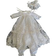 "White Lace Christening Gown Outfit w/ Hat & Pantaloons for a 12""-14"" Baby Doll"