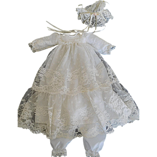 """White Lace Christening Gown Outfit w/ Hat & Pantaloons for a 12""""-14"""" Baby Doll"""