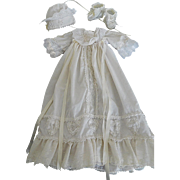 Quality 5 Piece White Lace Christening Baby Gown Outfit for a (M) Size Baby Doll