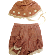 Vintage Brown Hat  Bonnet & Matching Panties Bloomers for Large Size Baby Doll