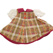 Vintage A-Line Cotton Checked Dress for (M) Medium Size Doll