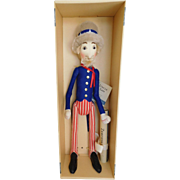 "Steiff 20"" Uncle Sam Cloth Doll Replica of 1904 w/ Box & Certificate"
