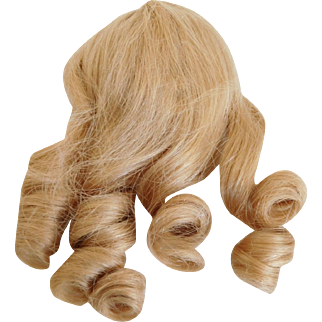 Vintage French Blonde Human Hair Cheveux Doll Wig Size 9 w/ Long Curls