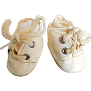 Vintage Off White Oil Cloth Tie Shoes for Small Baby Doll