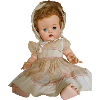 "Vintage 1950's Ideal 20"" Betsy Wetsy Vinyl Baby w/ Original Clothes"