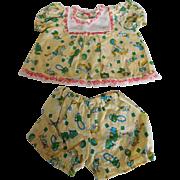 Vintage 2 Piece Dress Set w/ Animal Print for a (M) Baby Doll