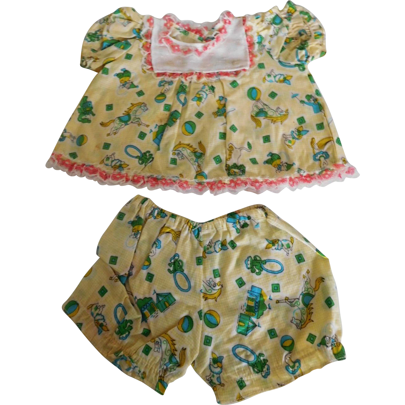 Vintage 2 Piece Dress Set w/ Animal Print for a (M) Baby Doll
