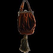 Vintage Brown Velvet Ladies Evening Bag Purse w/ Sterling Silver Frame & Mesh Lining