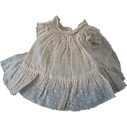Swiss Dot Off White Dress Smock w/ Attached Slip for (S) Antique or Vintage Doll