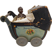 Unique! Fanny Farmer Candy Baby Carriage with Black All Bisque Baby