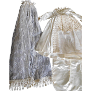Gorgeous! Vintage Satin & Lace Bridal Gown & Veil for (M) Doll