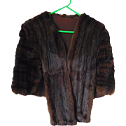 Vintage Mink Stole, Cape, Shawl, Dark Brown Size (M) Medium