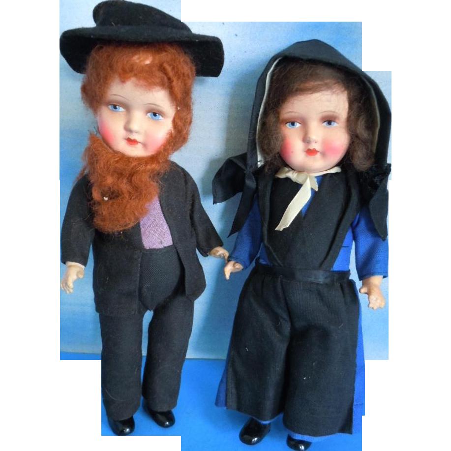 "Vintage Germany 10"" Amish Man & Lady Composition/Papier Mache All Original"
