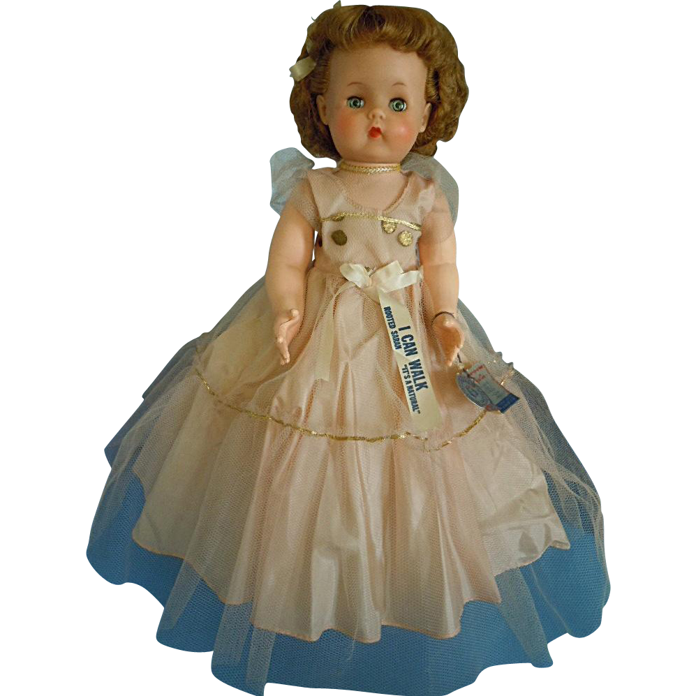 "Vintage Natural Doll Co. 20"" Hard Plastic Walker All Original Clothes w/ Tags"