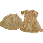 Antique Beige Lace Trim Dress w/ Slip for (M) Medium Antique Doll