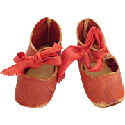 Antique Red Leather Doll Shoes for (M) Medium Bisque Head Doll