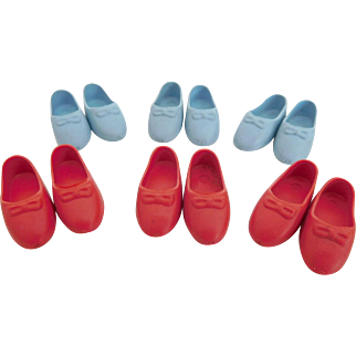 Vintage Generic Penny Brite, Pepper Rubber Shoes Old Store Stock 6 Pair Blue Red