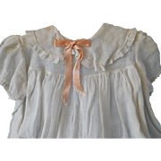 Vintage White Cotton Dress, Swiss Dot Collar for (L) Vintage, Antique Baby DollO
