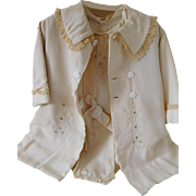 Vintage Beige Silky 2 Piece Christening Outfit for Child or Large Baby Doll
