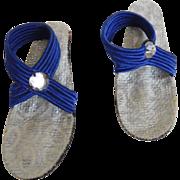 "Vintage 1950's High Heels Blue Strap Shoes for 10"" Fashion Doll Jill, Revlon"