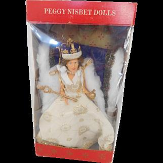 "Vintage Peggy Nisbet 8"" Royalty Queen Elizabeth II Coronation In State Robes MIB"